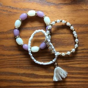 Beaded Stacked Tassel 3 pc Bracelet Set Lilac